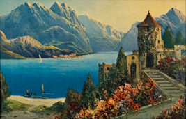 Vintage Lithograph Print Castle Overlooking the Water Mountains in Backg... - $39.99