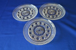 3 Federal Glass Clear Windsor Bread & Butter Plates - $14.85