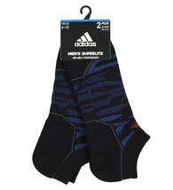 Adidas Superlite Climalite 2 pair No Show Cut Socks Black/ Blue Men's sz... - $15.99