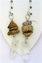 Picture Jasper Gemstone Nuggets And Crystal Silver Wire Earrings - $13.39