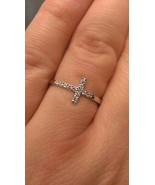 STERLING SILVER & CZ SIDEWAYS CROSS  RING -  SIZE 7 - $32.83