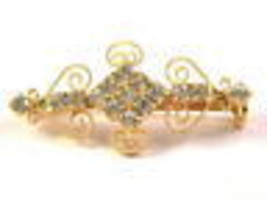 Vintage Beautiful Gold Tone and Rhinestone Elegant Small Pin - $13.49