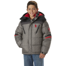 U.S. Polo Association Boys Hooded Bubble Jacket Gray / Red 7 #NJTNN-746 - $29.99