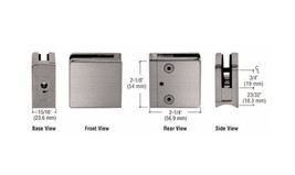 """Brushed Nickel Z-Series Square Type Radius Base Zinc Clamp for 1/4"""" & 5/16 Glass - $14.95"""