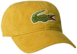 Lacoste Men's Gabardine Cotton Big Croc Logo Yellow-4bw Strap Back Hat Cap image 1