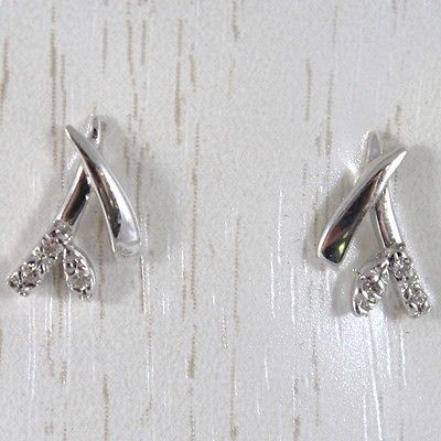 WHITE GOLD EARRINGS 750 18K LOBE, BRANCH AND FLOWER, WITH ZIRCON, LONG 1 CM
