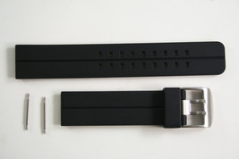 24mm Black Rubber Heavy Watch Band s/s Buckle STRAP For Luminox  with 2 ... - $17.45