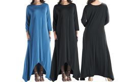 Women's Plain Long Sleeve Pockets Pleated Loose Swing Casual Maxi Dress - $25.55
