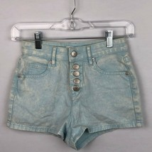 BCBG  Womens 23 Shorts Baby Blue High Waist Button Up Casual Mineral Wash  - $17.55