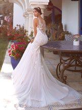 Charming  Spaghetti Strap Beading Applique Illusion Back Robe Mermaid Wedding Dr image 6