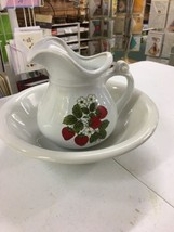 VINTAGE MCCOY STONEWARE pitcher 1515 wash basin bowl 7527 POT STRAWBERRY... - $39.99