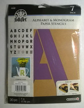 "Plaid Folkart Paper Stencils ~ Alphabet & Monogram ~ 7"" Script ~ NEW - $16.82"