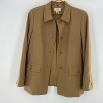 Talbots Womens Suit Jacket Brown Wool Blend Stretch Pockets Blazer Petit... - $22.76