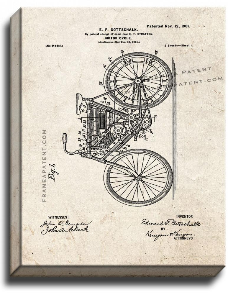 Primary image for Motorcycle Patent Print Old Look on Canvas