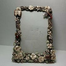 Vintage Enamel Floral Standing Photo 3.5 x 5.5 Picture Frame 5x7 - $86.99