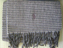 POLO RALPH LAUREN BLUE LABEL MENS SCARF MADE IN ITALY WOOL BEIGE REVERSI... - £109.46 GBP
