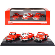 Classic Pickups Gift Set of 3 Pickup Trucks Coca Cola 1/72 Diecast Model... - $32.52