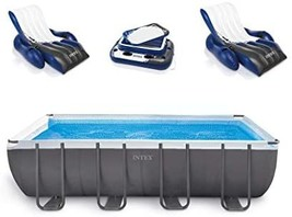 "Intex 18' x 9' x 52"" Ultra Frame Rectangular Above Ground Pool Set with Floats - $3,041.00"