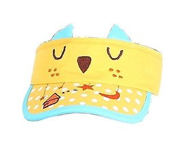 Children Sun Protection Hat Kittens Summer Cap Without Top 2-4 Years(Yellow)