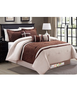 7-Pc Abstract Scroll Curvy Line Embroidery Comforter Set Coffee Brown Be... - $86.94