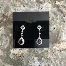 Faux Garnet and Rhinestone Pierced Dangle Earrings - $12.19