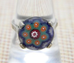 Charles Green and Son Sterling Silver Millefiori Glass Flower Ring Size 7.75 VTG - $197.99