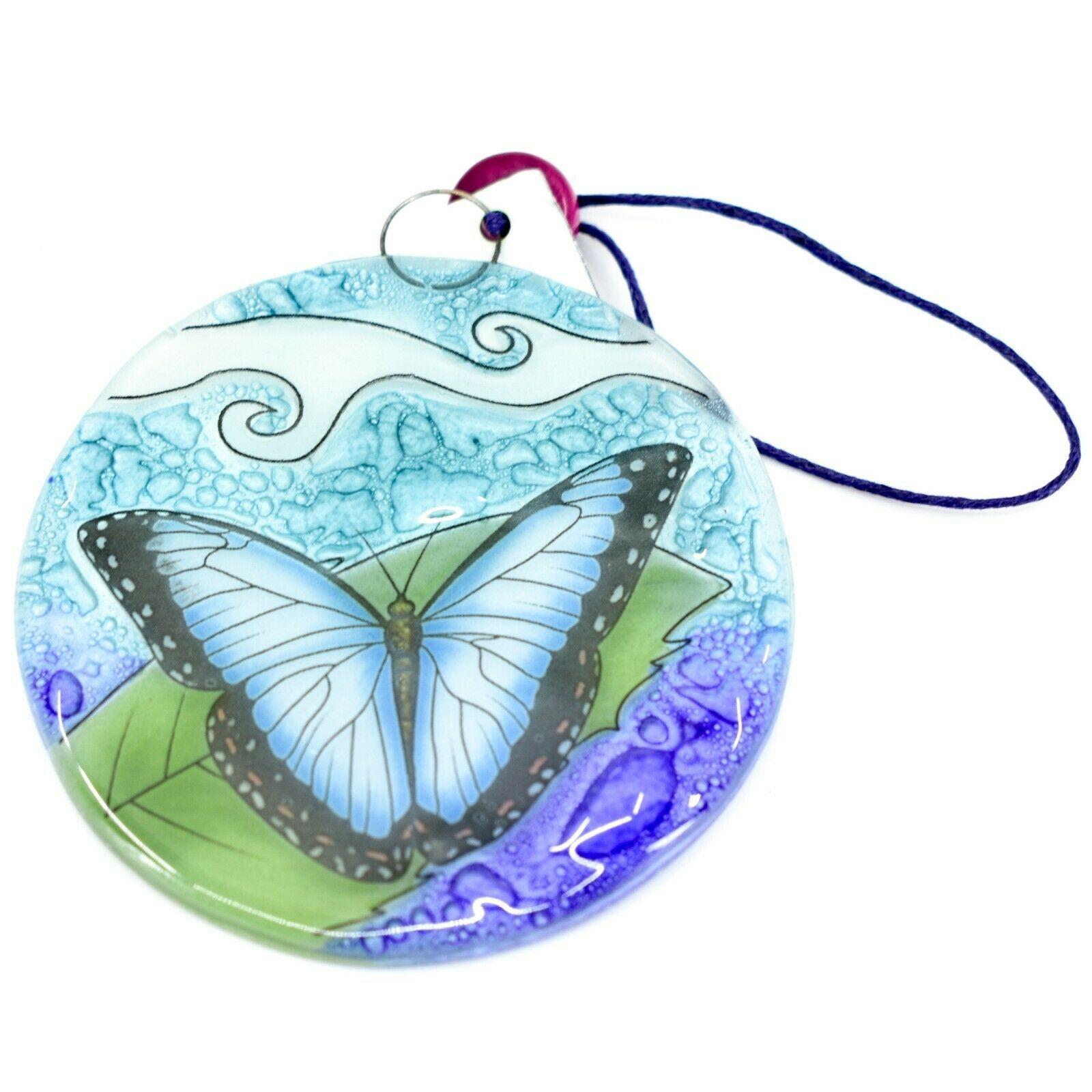 Fused Art Glass Blue Morph Butterfly Ornament Handmade in Ecuador