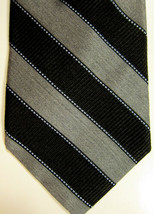 NEW Saks Fifth Ave Gray and Black Wide Stripe Silk Tie Made in USA - $37.26