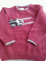 Gymboree Toddler Boy 12-18 Months Race Car Burgundy and Grey Sweater Fall - $17.81
