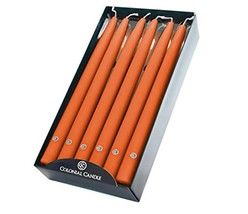 "Colonial Candle Handipt Unscented Dripless Dinner Tapers in Pumpkin, 12""... - $34.41"