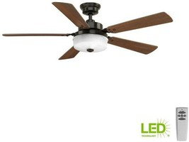 Lighted Ceiling Fan 54 in. 5-Blade 1-Light 3-Speed Remote Control Antique Bronze - $239.46