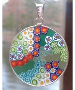26mm Murano Millefiori Lampwork Glass Pendant Sterling Silver Italy Mult... - $31.95