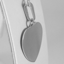18K WHITE GOLD HEART, PHOTO & TEXT ENGRAVED PERSONALIZED PENDANT 22 MM, MEDAL image 2