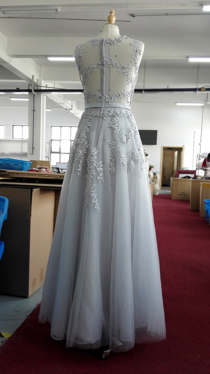 Lace Embroidery Long Prom Dresses Sheer Back Pearls Formal Evening Party Dresses image 12