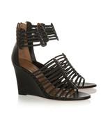 Aquazzura VENUS Black Leather Braided Cage Wedge Sandals Sz 8.5 M - $296.99