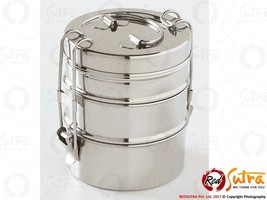 Silver Stainless Steel Lunch Box 3 Tier Container Indian Tiffin with fre... - $16.73