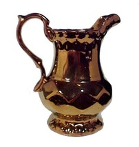 16338a art deco english copper lustre creamer pitcher vintage 6 inch england thumb200