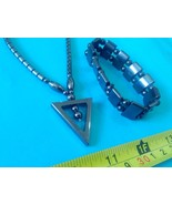 Hematite necklace triangle pendant amulet & bracelet Philippines made - $23.27