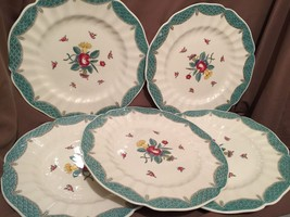 5 (imperfect) Royal Doulton Lowestoft Bouquet Dinner Plates Blue Green F... - $98.99