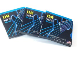 DR Guitar Strings 3 Pack Electric Neon Blue 10-46 Medium - $32.01