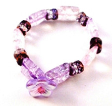 B132 HANDCRAFTED V L DESIGNS ICE FLAKE CRYSTAL STRETCH PASTEL BRACELET - $12.00