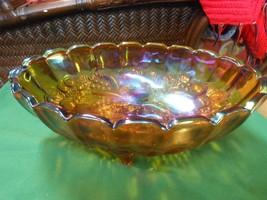 Brownish/Purple CARNIVAL Glass Centerpiece Harvest Fruit BOWL....GRAPES ... - $15.25