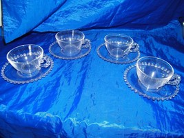 Set of 4 Imperial Candlewick Cup Saucer Sets Clear 13426 - $18.69