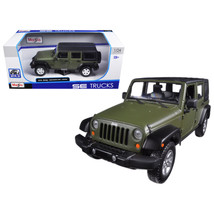 2015 Jeep Wrangler Unlimited Green 1/24 Diecast Model Car by Maisto 3126... - $37.56