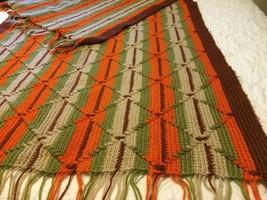 Crochet Afghan Blanket Midwestern Theme Brown Rust Beige Green Throw w/f... - ₹3,519.46 INR
