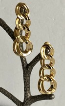 Vintage MONET Gold Tone Interlocked Graduated Cycles Pierced Earrings  - $28.70