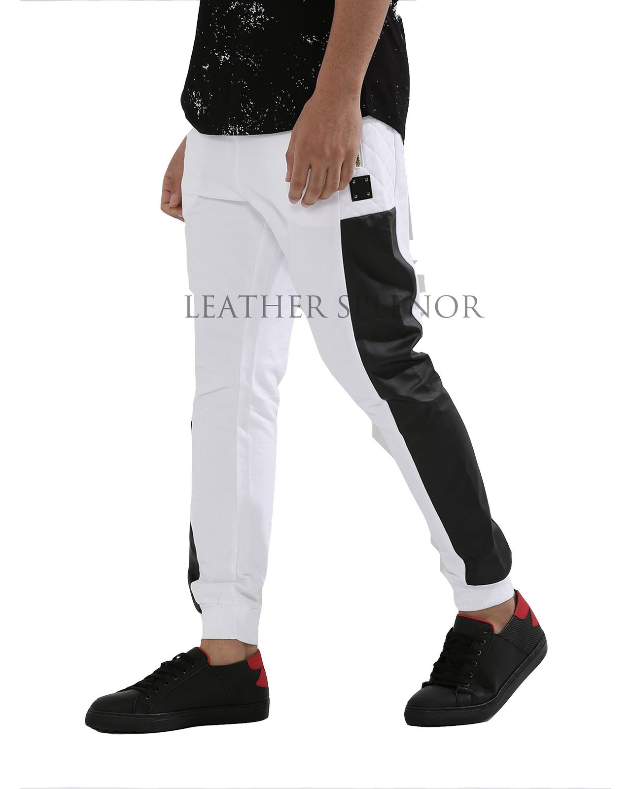 BLACK AND WHITE MEN LEATHER PANT