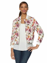 COLLEEN LOPEZ Size 1X Flattering Floral Print Bomber Jacket IVORY FLORAL - $69.25