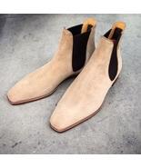 Handmade Men Beige Casual Suede Chelsea boots, Men Beige ankle boots, Me... - $179.99