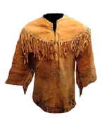 QASTAN Men's New Native American Mountain Man Buckskin Thin Goat Suede S... - $106.03+